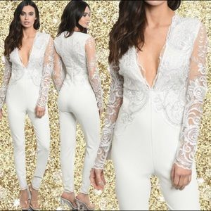 Ladies Silver White Lace Once Piece Jumpsuit S M L